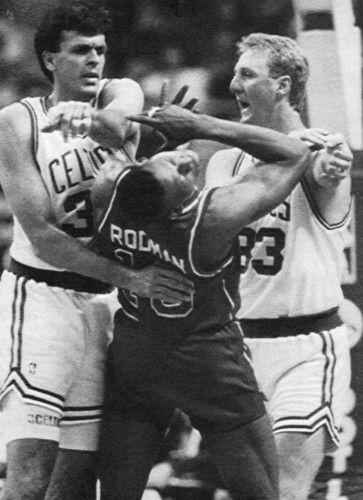 Kevin McHale, Larry Bird and Dennis Rodman (Detroit Pistons)