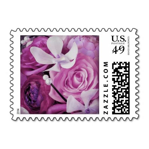 #Pink #mauve and #lavender #floral #postage #stamps with a mixed bouquet of #roses, #peonies, #orchids, #ranunculus, and #pearls. Especially pretty for #wedding, #bridal #shower, #vow renewal, or party invitations, announcements, save the dates, RSVPs, thank you notes, and anniversary, birthday, Mother's Day, and Valentine's Day cards. Personalizable (add names/date/other text when ordering). Available horizontal or vertical, in different colors, and in other matching items.