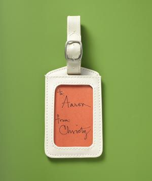 For your favorite wanderer, use a luggage tag as a gift tag