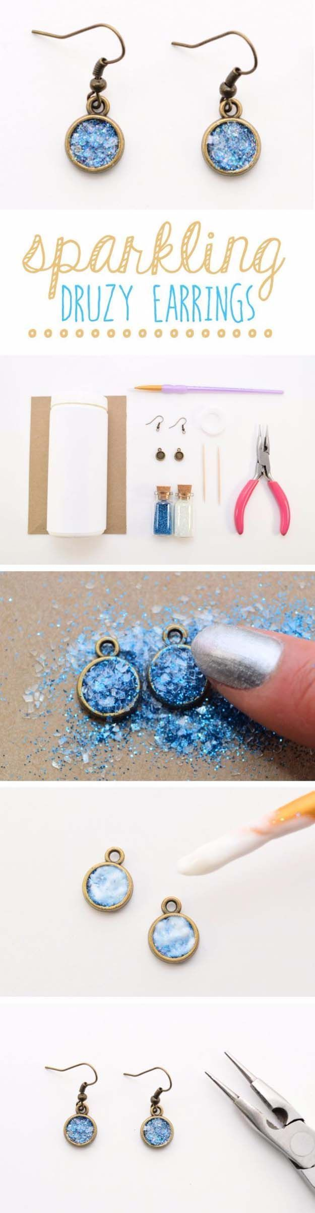 DIY Gifts for Your Girlfriend and Cool Homemade Gift Ideas for Her | Easy Creative DIY Projects and Tutorials for Christmas, Birthday and Anniversary Gifts for Mom, Sister, Aunt, Teacher or Friends | Sparklng Glitter Druzy Earrings for Cool Homemade DIY Fashion | Cool Crafts and DIY Projects by DIY JOY http://diyjoy.com/diy-gifts-for-her-girlfriend-mom