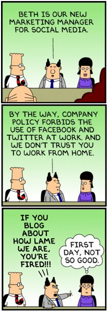 Haha, this happened to me, required to check MySpace and Facebook, forbidden to use it work, not trusted to work from home!!