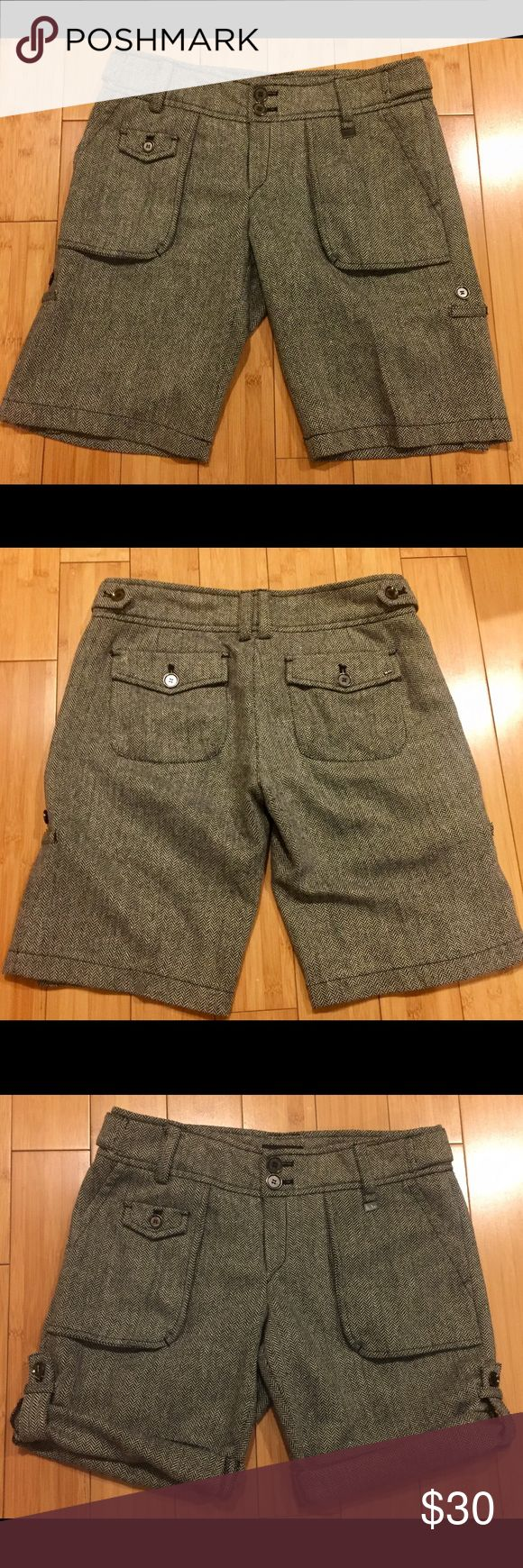"""Mango wool tweed dress shorts sz 10 Mango wool shorts to dress up or down! Lots of pockets and details. They can be worn long at 12"""" inseam or rolled and buttoned up to 8"""" inseam. Perfect for fall with boots or winter with tights. Mango Shorts"""
