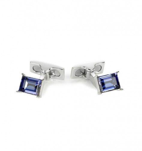 Miss Links 'Emily' Tanzanite emerald cut crystal cufflinks - purple