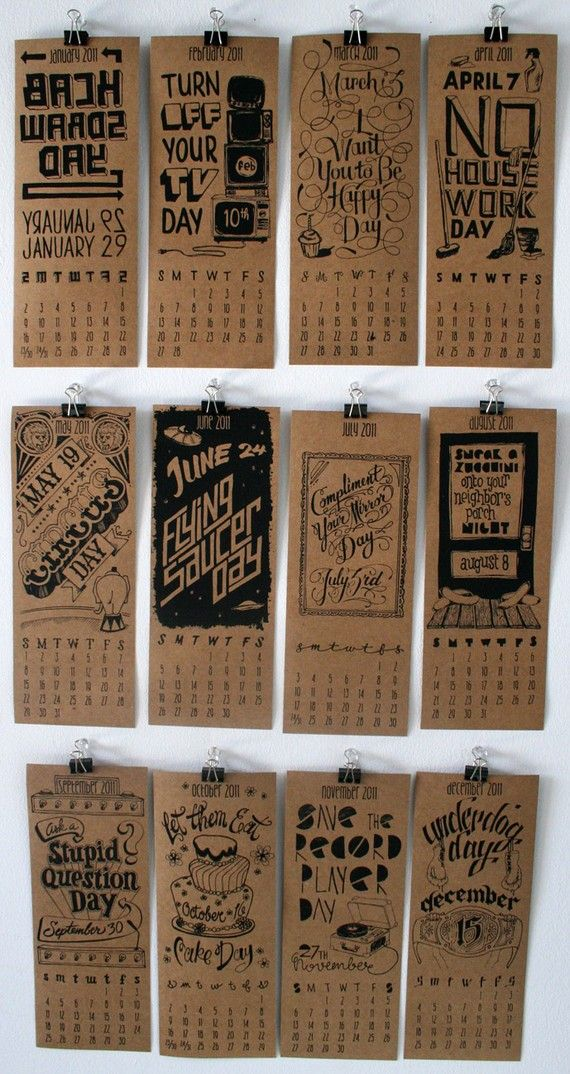 """^INSPIRATION...Calendar of Silly Holidays is perfect for festive people looking for something fun to celebrate each month. All holidays are real, even I can't make this up!    Calendar includes:  12 individual prints  Each print measures 4.25"""" wide and 11"""" tall"""