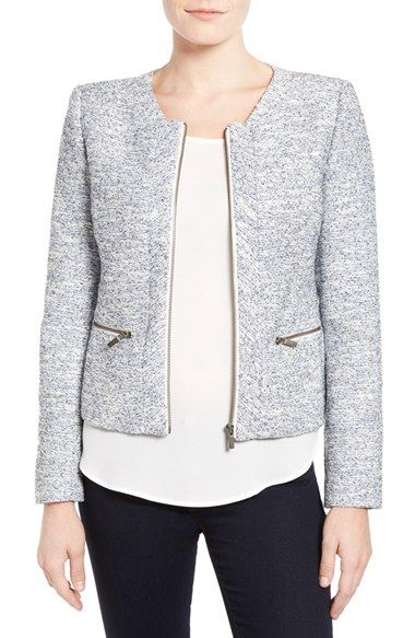 Halogen® Zip Front Collarless Jacket (Regular & Petite) available at #Nordstrom