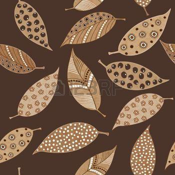 dibujos de hojas de otoño: Modelo inconsútil de los hechos a mano pintada de hermosas hojas de otoño