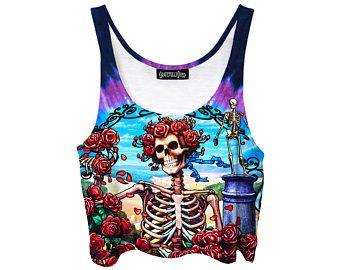 Grateful Dead Crop Top - Music Festival Shirt - Bertha Tank Top - Summer Tie Dye Clothes - Gift for Her