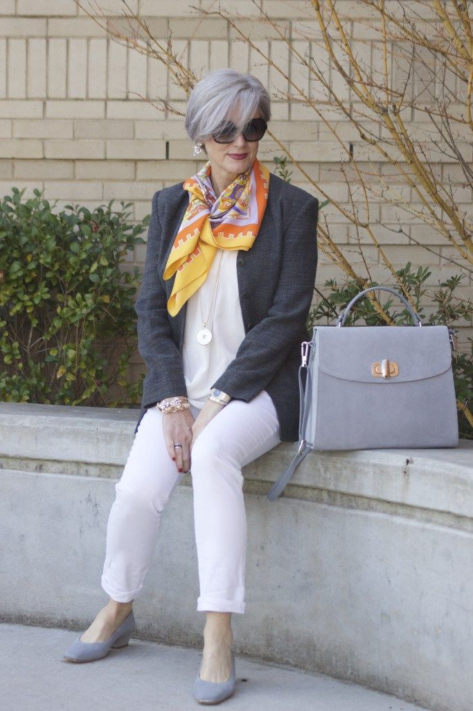 Jeans Ann Taylor;  White shirt ;  Armani blazer; Hermes silk scarf,  Clarisonshoes;Clarison handbag,  lipstick Tutti Frutti