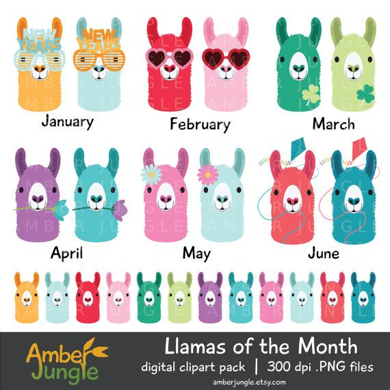 This llamas of the month clipart set includes 48 cute llama illustrations in 2 sizes, for 96 images total. These llama images come in 4 styles for each month, matched to Erin Condren life planner monthly colors. These would make great planner stickers! See also my unadorned llama faces clipart, in a rainbow of 82 colors: https://www.etsy.com/listing/285357813/llama-clipart-llamas-planner-clip-art  ~ What you will receive ~  You will receive 1 or more zipped file(s) containing a total of…