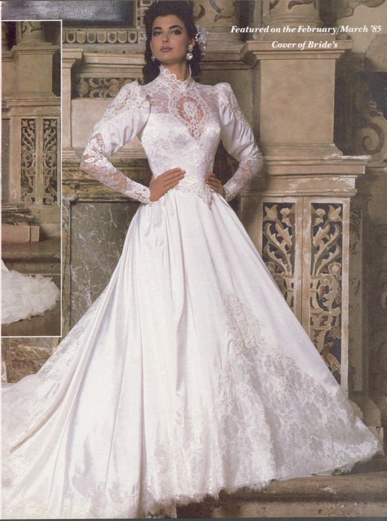 This bridal gown is modeled by a transgender model. Back in the 1980s, it wasn't often that a transgender woman modeled a bridal gown for a major designer; in this case, Demetrios by Ilissa.