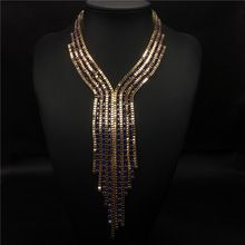 2016 fashion bohemian big Chain long tassel necklace collar choker necklace vintage statement necklace women Maxi fine Jewelry(China (Mainland))