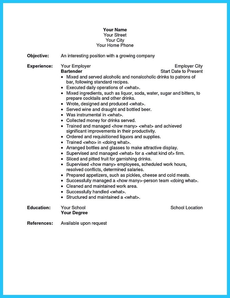 Bartender Resume Skills. Awesome Excellent Ways To Make Great