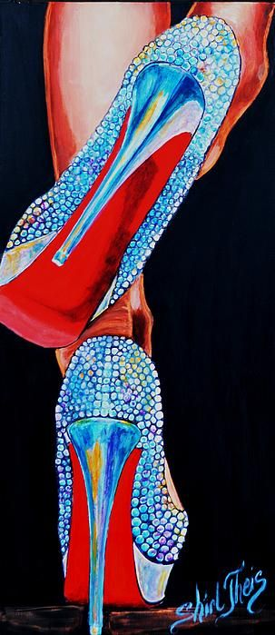 Stiletto high heels encrusted with diamonds-neon effect http://www.shirltheisartstudio.com http://shirl-theis.artistwebsites.com