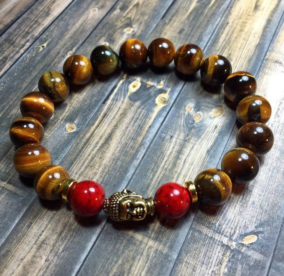 Men's mala buddha bracelet, mens bracelet, beaded bracelet, stretch bracelet, jewelry, gifts for him, stackable bracelet, yoga jewelry