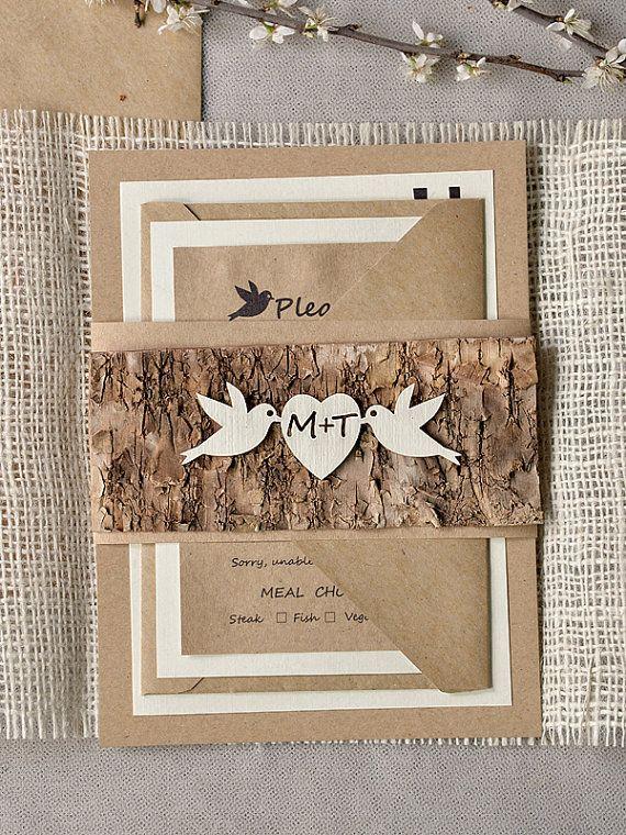Rustic  Wedding Invitation, Tree Invitation, Recycling Invitations, Burlap Wedding Invitation, Birds in Love invitation, Birch invitation on Etsy, $6.70