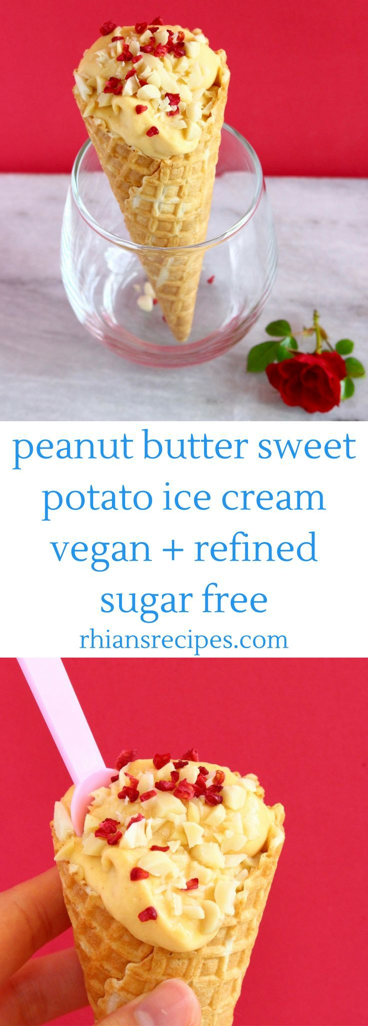 This No-Churn Vegan Peanut Butter Sweet Potato Ice Cream is easy to make, secretly healthy and requires just 3 ingredients! Also refined sugar free and gluten-free.