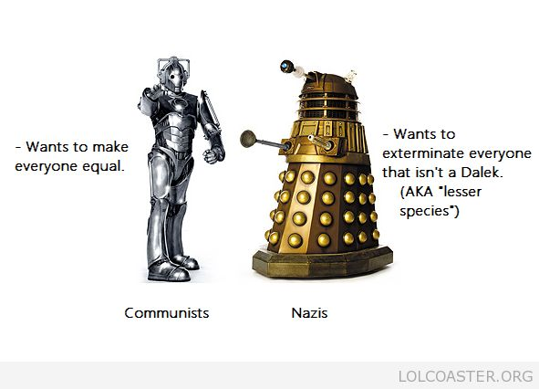 Many probably thought this before --- yea, the daleks were actually inspired by the nazis. Not sure how they came up with the cybermen, though