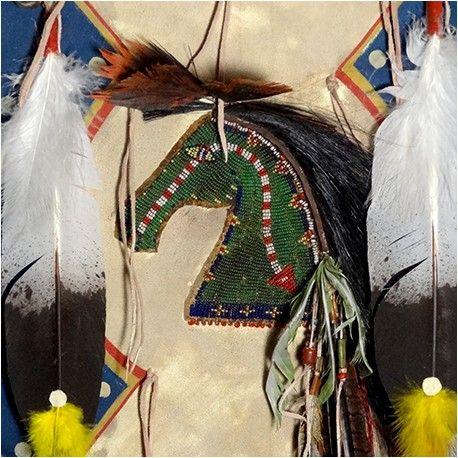 #Native American Shield: 2 Cover w. Horse Amulet - Amulet #PrairieEdge www.Prairieedge.com
