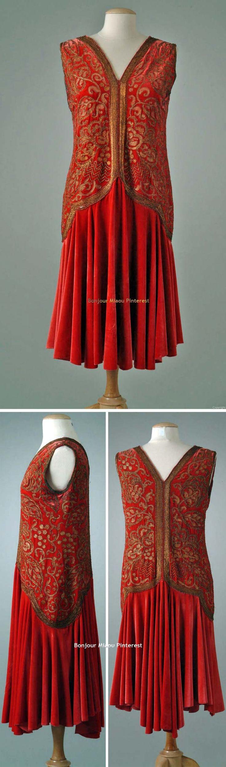 Dinner dress ca. late 1920s. Ruby-colored silk velvet with flared skirt. Bodice hand-embroidered with gold metallic thread. Meadow Brook Hall Historic Costume Collection, Oakland Univ.