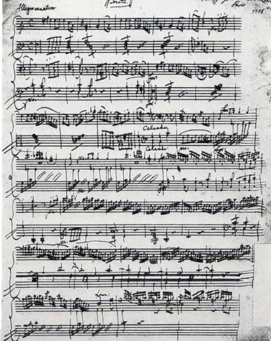 Die erste Seite der Klaviersonate a-moll KV 310 in der Originalhandschrift Mozart: