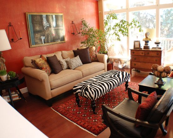 Beautiful Zebra Room Accessories: Cheap Chic Eclectic Living Room With  Combo Of Orange And Black