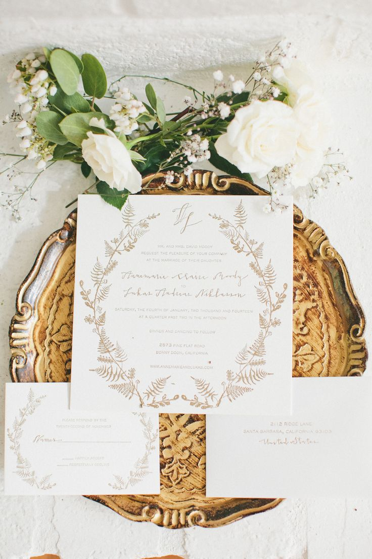 foliage inspired invites by http://www.megbarclay.com/ Photography: Onelove Photography - onelove-photo.com Read More: http://www.stylemepretty.com/2014/07/21/rustic-bonny-doon-wedding-with-scandinavian-traditions/