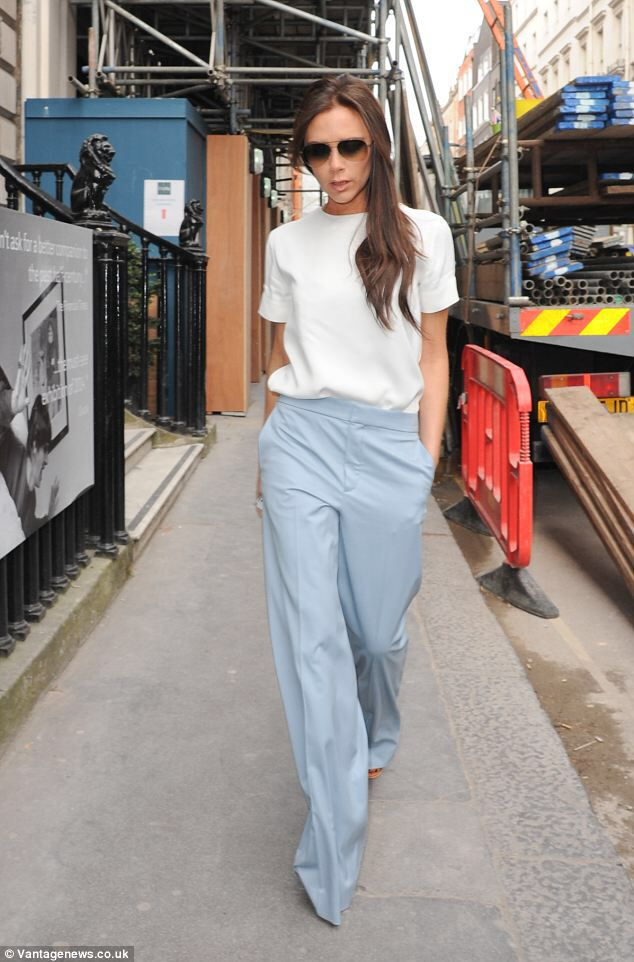 baby blue trousers with simple white blouse