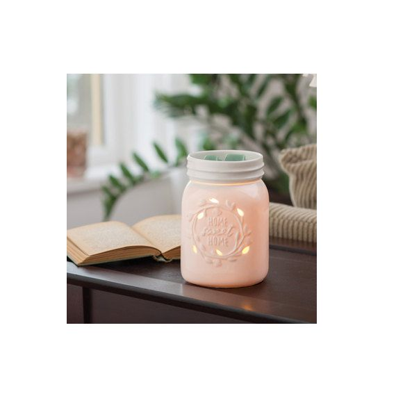 "Rustic Home Decor - Wax Melter, Candle Warmer - Mason Jar ""Home Sweet Home"" Quote - Electric Wax Warmer - Wax Burner - Country Home Decor"