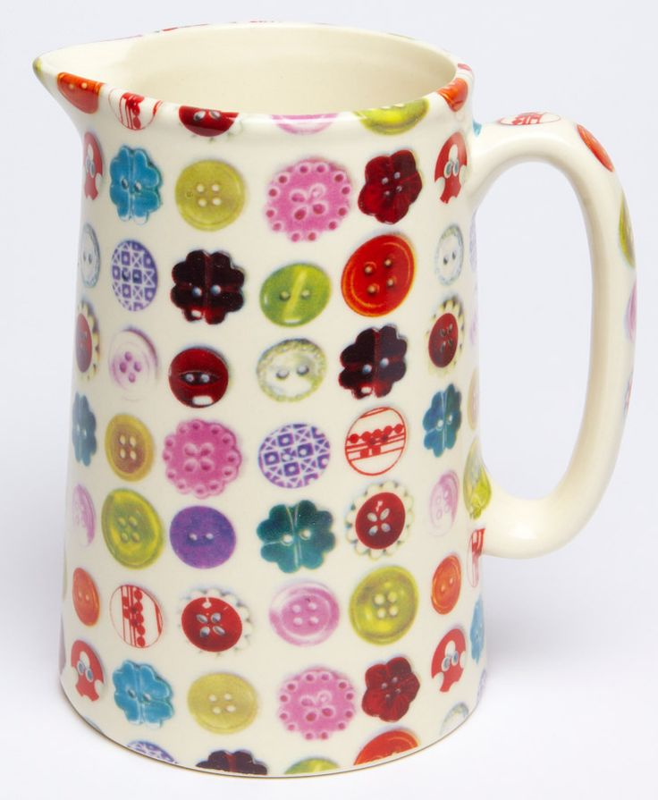Avoca Buttons One Pint Jug. This great porcelain jug is designed and decorated in Ireland.