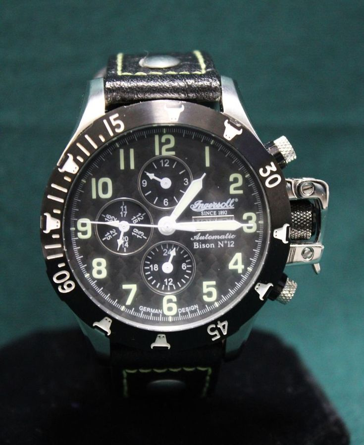 Ingersoll Mens Bison 12 Automatic Watch Day Date Wristwatch Limited German #Ingersoll #watch
