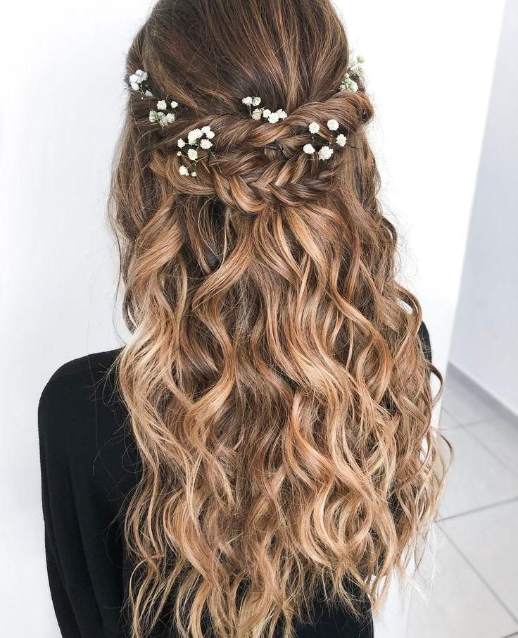 Boho Chic wedding hairstyle for long hair with flowers. Wedding hairstyles half down, hair and make-up by - #weddinghairstyles
