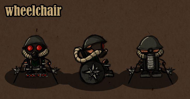 estudo de personagem para um game onde os heróis tem alguma deficiencia