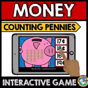 COUNTING COINS MONEY GAME (COUNTING PENNIES GAME) HOW MUCH MONEY?    A fun game where children count the money in each piggy bank (all pennies) and click the button with the matching amount. Perfect to practice counting pennies up to 20¢.    Keywords: identifying coins, counting pennies, counting money game, how much money in piggy bank, counting coins game for kidnergarten, kindergarten money
