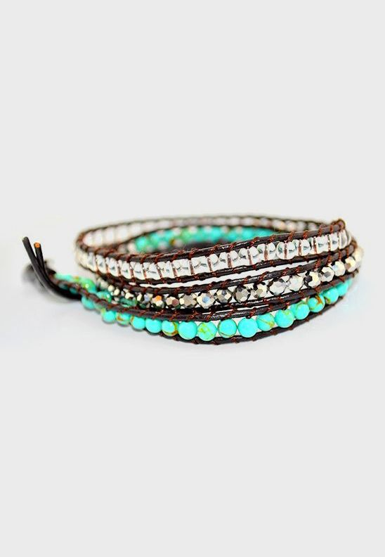 Turquoise & Silver Beaded 3 Wrap Leather Bracelet