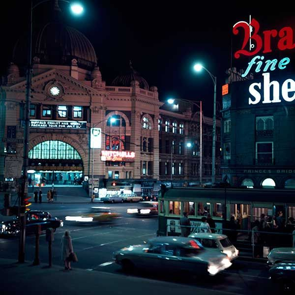 Flinders St Evening early 1970s by Angus O'Callaghan