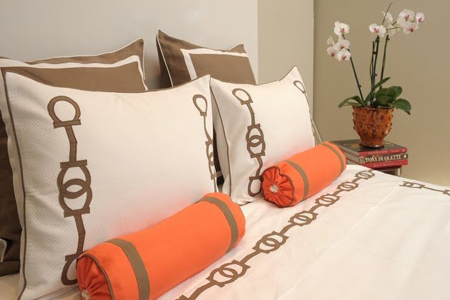 Things We Love: Making the Bed - Leontine Linens - love the bolsters and horse bit design