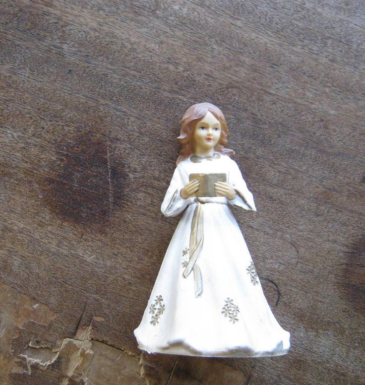 Vintage Christmas Tree Topper Angel with Hymnal made in British Hong Kong; Missing Wings~Lovely Hard Art Plastic Angel by MintysMercantile on Etsy