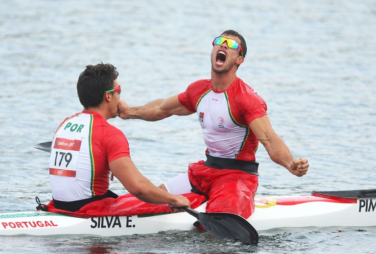 Emanuel Silva and Fernando Pimenta (R) of Portugal celebrate during the Men's Kayak Double (K2) 1000m Canoe Sprint Finals on Day 12 of the London 2012 Olympic Games at Eton Dorney on August 8, 2012 in Windsor, England.