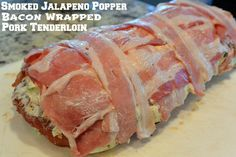 Smoked jalapeño popper bacon wrapped pork tenderloin. This recipe is amazing, especially if you have a pellet grill.