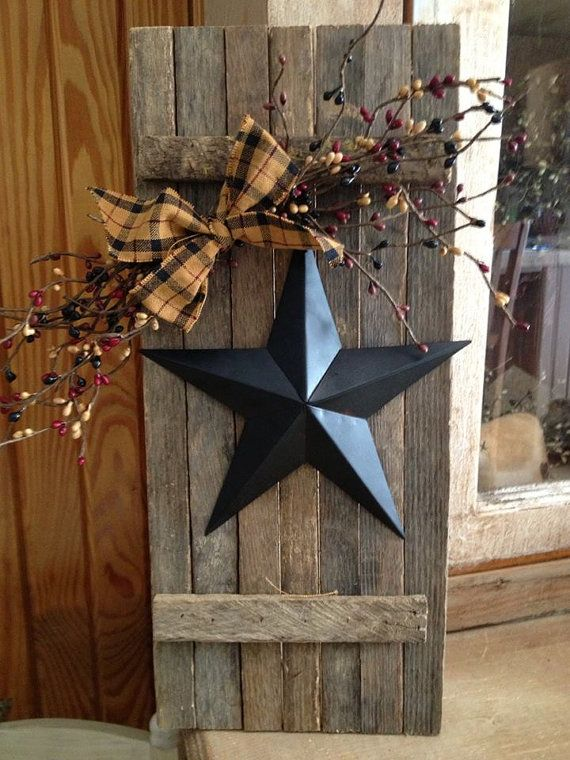 Old Country Decor Lathe Wooden Shutter With Star By Oldthymecottage On Etsy 25 00