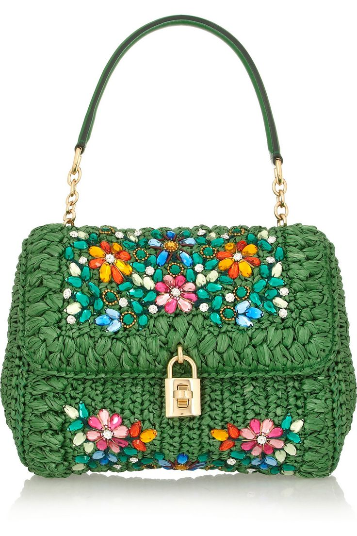 Dolce & Gabbana | Dolce medium embellished raffia and leather shoulder bag | NET-A-PORTER.COM