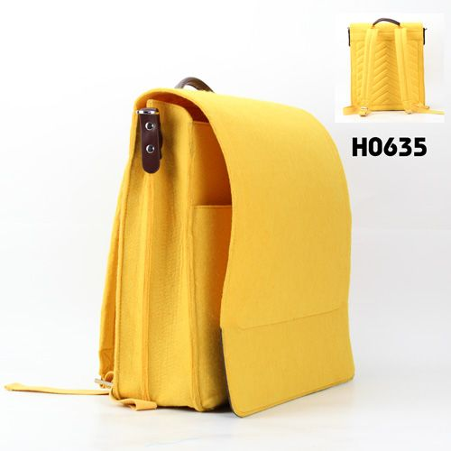 yellow felt backpack bag, a best bag for your summer