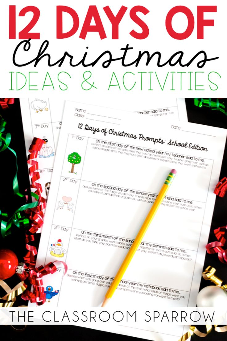 The 12 Days of Christmas Holiday Break Countdown Ideas