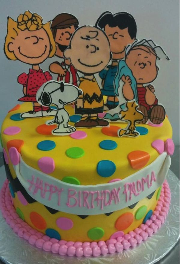 Superb Charlie Brown Peanuts Yellow And Pink Birthday Cake