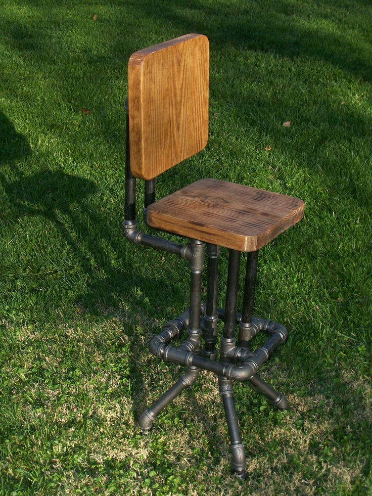 Industrial Bar Stool with Back by SawdustIndustries on Etsy