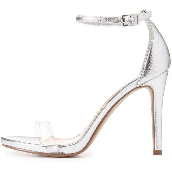Delicious Clear Strap Two-Piece Sandals ($25) ❤ liked on Polyvore featuring shoes, sandals, silver, strappy dress sandals, lace up stilettos, heeled sandals, strappy sandals and strappy lace up sandals