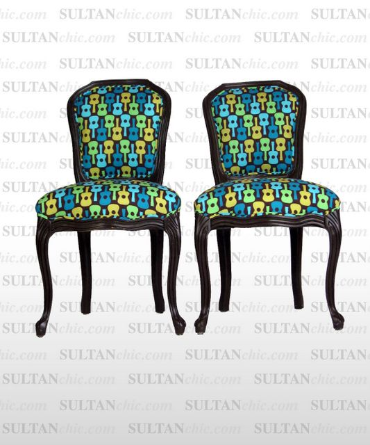All upholstered furniture pieces featured here are one of a kind creations of artisan designer Albert Leon Sultan founder of WWW.SULTANCHIC.COM Please inquire if you'd like to purchase any piece featured here or to hire Albert to design your home.  #midcentury #retro #vintage #upholstery #wingchair #upcycle #couture #furniture #art #design #interiordesign #home #love #flower #pastel #sultanchic #chic #fashion #french #guitar #turquoise