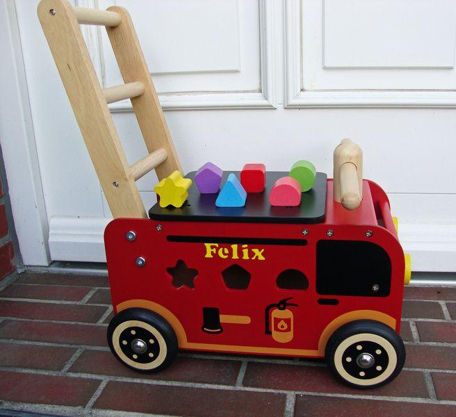 Lauflernwagen Holz Feuerwehr ~ Lauflernwagen Feuerwehr von Pusteblume auf DaWanda com