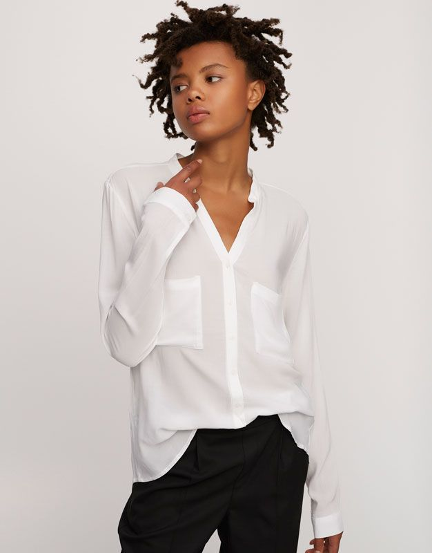 Pull&Bear - γυναικεία - ενδύματα - μπλούζες και πουκάμισα - πουκάμισο basic με γιακά μάο - λευκο - 05471212-V2017