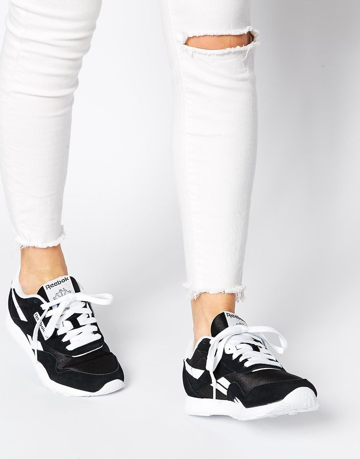 reebok classic nylon black white trainers wishlist pinterest top mod les formateurs et noir. Black Bedroom Furniture Sets. Home Design Ideas